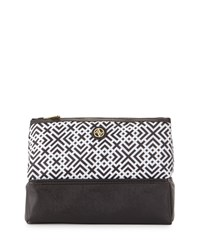 Adrienne Vittadini Geometric Print Pyramid Cosmetic Bag Black White