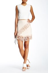 1.State Fringe Wrap Vegan Suede Skirt Brown