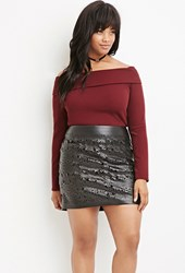 Forever 21 Plus Size Perforated Faux Leather Skirt Black