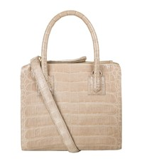Nancy Gonzalez Plisse Mini Crocodile Tote Female Taupe