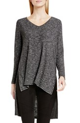 Vince Camuto Women's Two By High Low Rib Knit V Neck Tunic Medium Heather Grey