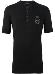 Dolce And Gabbana Crown Bee Henley T Shirt Black