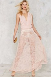 Nasty Gal Voltage Multi Wear Maxi Dress Pink Lace