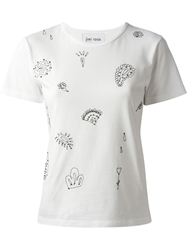 Jimi Roos Embroidered Paisley T Shirt White