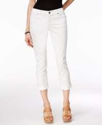 Inc International Concepts Cuffed White Wash Cropped Jeans Only At Macy's White Denim
