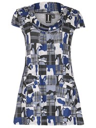 Izabel London Long Line Tunic With Checked Print Blue