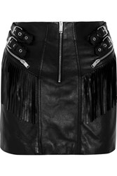 Saint Laurent Fringed Leather Mini Skirt Black