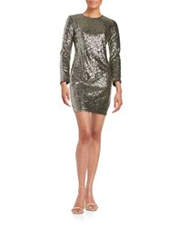 Maia Sequined Shift Dress Gold