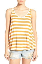 Volcom Women's 'Don't Tell' Stripe V Neck Tank Saffron