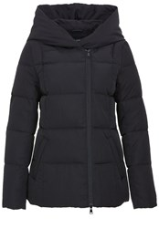 Hallhuber Flat Woven Fabric Hooded Down Jacket Black