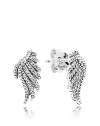 Pandora Design Pandora Earrings Sterling Silver And Cubic Zirconia Majestic Feathers
