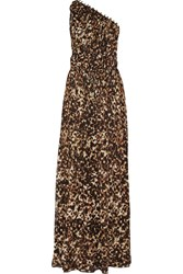 Roberto Cavalli One Shoulder Leopard Print Silk Chiffon Gown Animal Print