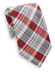 Saks Fifth Avenue Madras Plaid Cotton And Silk Tie