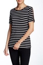 Cable And Gauge Button Shoulder Short Sleeve Tee Black