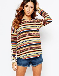 Kiss The Sky Indiana Hooded Jumper With Crochet Detail Sleeve Multi