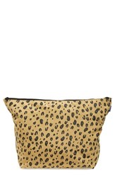 Baggu 'Carry All Large' Nylon Zip Pouch Brown Leopard