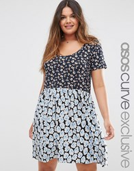 Asos Curve Smock Dress In Mixed Ditsy Floral Prints Multi