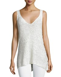Donna Karan Sleeveless V Neck Top Ivory Women's
