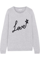 Chinti And Parker Love Star Intarsia Cashmere Sweater Light Gray