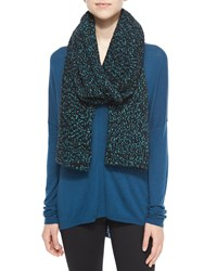 Vince Speckled Cotton Blend Knit Scarf Blue