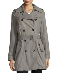 Neiman Marcus Double Breasted Leather Trenchcoat Gray