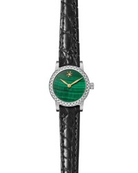 Gomelsky By Shinola Agnes Varis 32Mm Alligator Strap Watch With Diamonds Green Black