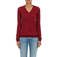Barneys New York Women's Cashmere V Neck Sweater Red