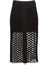 David Koma Lace Overlay Skirt Black