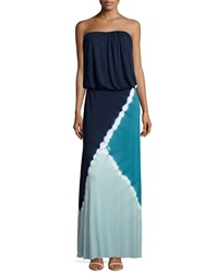 Young Fabulous And Broke Young Fabulous And Broke Sidney Tie Dye Strapless Maxi Dress Teal Tri