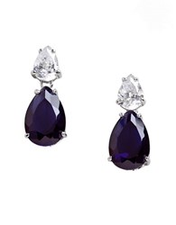Lord And Taylor Cubic Zirconia Sterling Silver Teardrop Earrings Sapphire