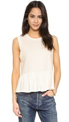 The Great. Sleeveless Ruffle Tee Washed White