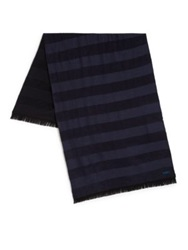 Kenzo Wool Blend Striped Scarf Navy