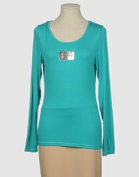 Roccobarocco Topwear Long Sleeve T Shirts Women Turquoise