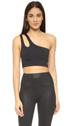 Solow Asymmetrical Cutout Sports Bra Black