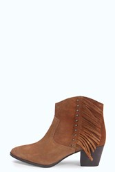 Boohoo Amy Fringe And Stud Suede Western Boot Tan