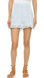Zimmermann Epoque Broderie Flare Shorts Dusty Blue