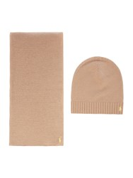 Polo Ralph Lauren Wool And Cashmere Knitted Scarf Camel