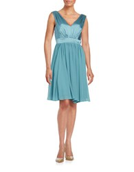 Vera Wang Satin Fit And Flare Dress Aegean Blue