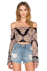 Band Of Gypsies Printed Off The Shoulder Long Sleeve Crop Top Black