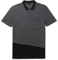 Lanvin Slim Fit Striped Cotton Pique Polo Shirt Black