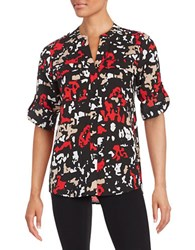 Calvin Klein Printed Button Front Shirt Black Red