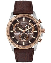 Citizen Men's Chronograph Eco Drive Brown Leather Strap Watch 42Mm At4001 00X