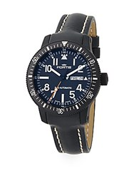 Fortis Stainless Steel And Leather Analog Watch Black