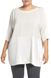 Eileen Fisher Plus Size Women's Scoop Neck Silk Crepe De Chine Top Bone