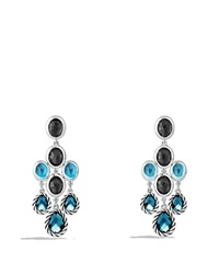 David Yurman Ultramarine Chandelier Earrings With Blue Topaz And Black Orchid Silver