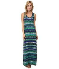 Calvin Klein Rayon Span Maxi Cd4ne3n4 Atlantis Multi Women's Dress