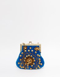 Moyna Velvet Clutch Bag With Gold Metal Beadwork Blue