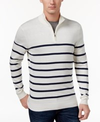 Club Room Men's Striped Half Zip Sweater Only At Macy's Bright White