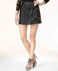 Material Girl Juniors' Zipper Trim Faux Leather Mini Skirt Only At Macy's Caviar Black