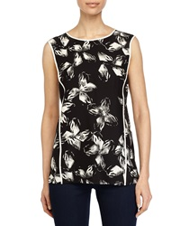 Halston Heritage Sleeveless Printed Top Black Linen White